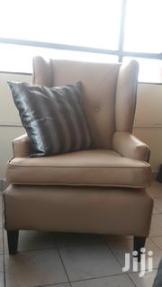 Wing Back Chair Leather Mahogany Frame and Springs Offer | Furniture for sale in Nairobi, Embakasi